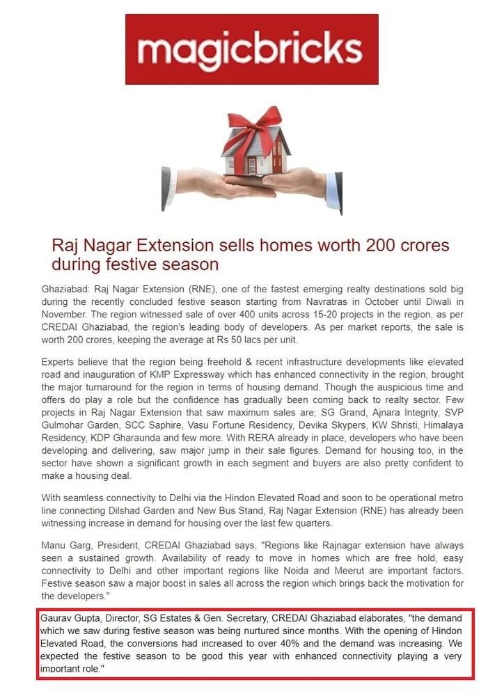 December 2018<br/> Raj Nagar Extension sales homes worth 200 crores during festive seasons